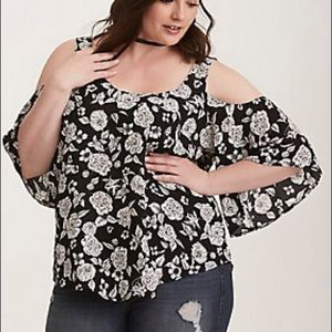Black and white cold shoulder blouse